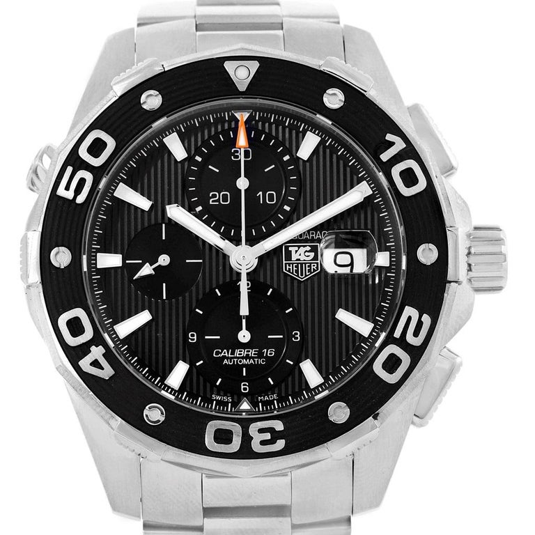 c99d2b92dd15 Tag Heuer Aquaracer Black Dial Stainless Steel Mens Watch CAJ2110.  Automatic self-winding movement