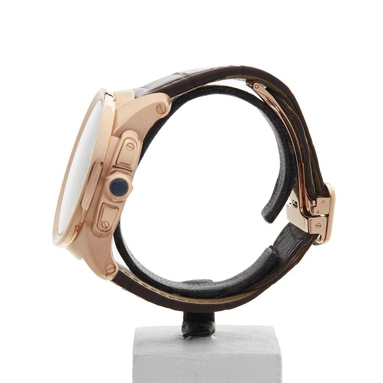 2017 Cartier Calibre Central Chronograph Rose Gold 3242 or W7100004 Wristwatch In Excellent Condition For Sale In Bishops Stortford, Hertfordshire