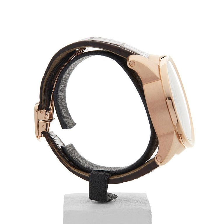Men's 2017 Cartier Calibre Central Chronograph Rose Gold 3242 or W7100004 Wristwatch For Sale