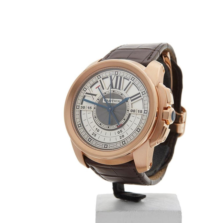 2017 Cartier Calibre Central Chronograph Rose Gold 3242 or W7100004 Wristwatch For Sale 1