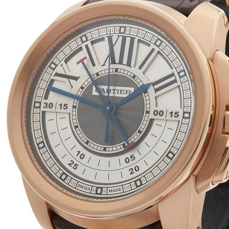 2017 Cartier Calibre Central Chronograph Rose Gold 3242 or W7100004 Wristwatch For Sale 2