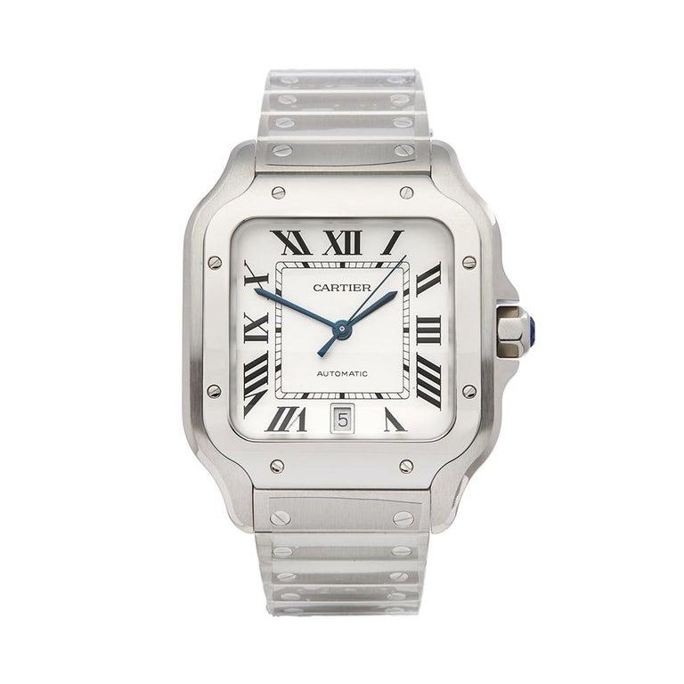 8cb2c28b1d4 2018 Cartier Santos De Cartier Edelstahl WSSA0009 Armbanduhr bei 1stdibs
