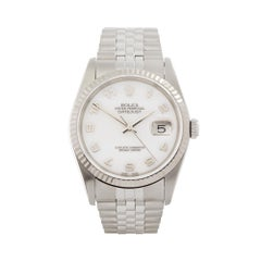2005 Rolex Datejust 36 Steel and White Gold 16234 Wristwatch