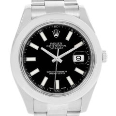 Rolex Datejust II Black Dial Stainless Steel Men's Watch 116300 Box Card