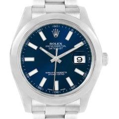 Rolex Datejust II Blue Baton Dial Steel Men's Watch 116300 Box Card