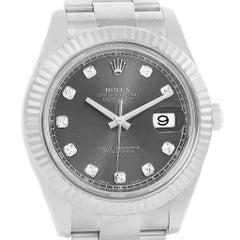 Rolex Datejust II Diamond Dial Fluted Bezel Men's Watch 116334 Box Card
