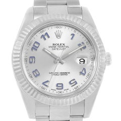 Rolex Datejust II Steel White Gold Silver Dial Watch 116334 Box Card