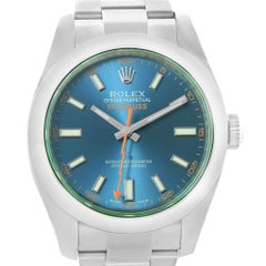 Rolex Milgauss Blue Dial Green Crystal Men's Watch 116400GV Box Card