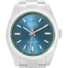 Rolex Milgauss Blue Dial Green Crystal Men's Watch 116400GV Box Papers
