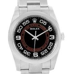 Rolex Non Date Black Brown Concentric Dial Steel Watch 116000 Unworn