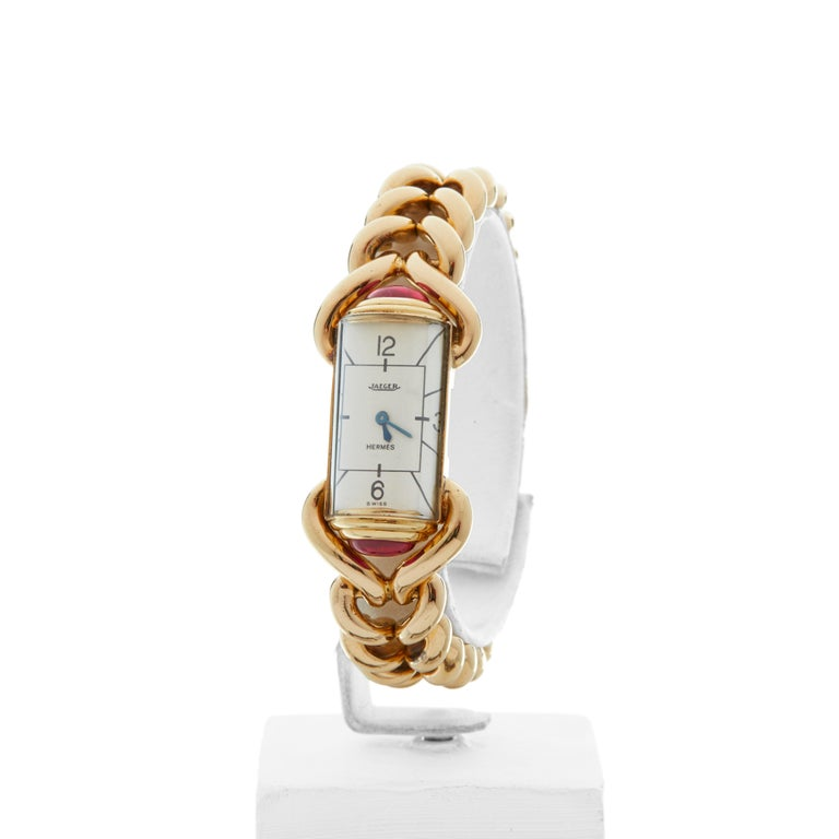 Women's 1940s Jaeger Vintage Hermes Yellow Gold 79829 Wristwatch For Sale