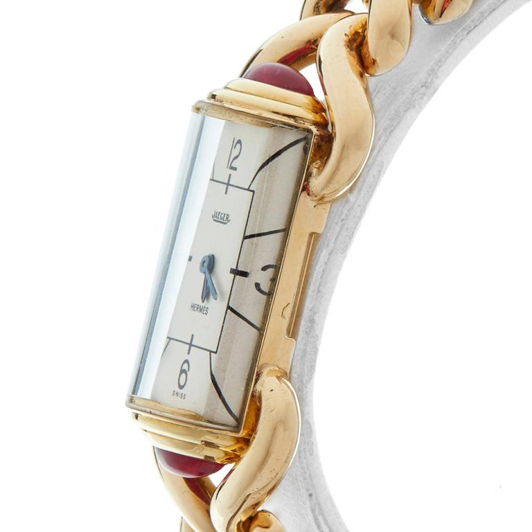 1940s Jaeger Vintage Hermes Yellow Gold 79829 Wristwatch For Sale 2