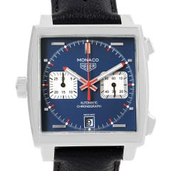 TAG Heuer Monaco Chronograph Blue Dial Men's Watch CAW211P Box Card