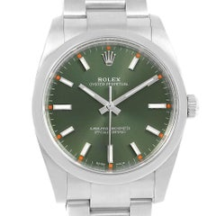 Rolex Oyster Perpetual 34 Olive Green Steel Unisex Watch 114200