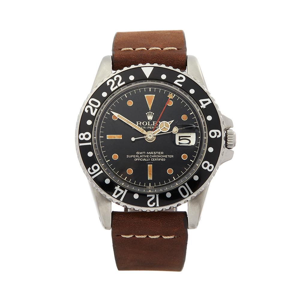 1963 Rolex GMT-Master Gilt Gloss Underline Dial Stainless Steel 1675 Wristwatch