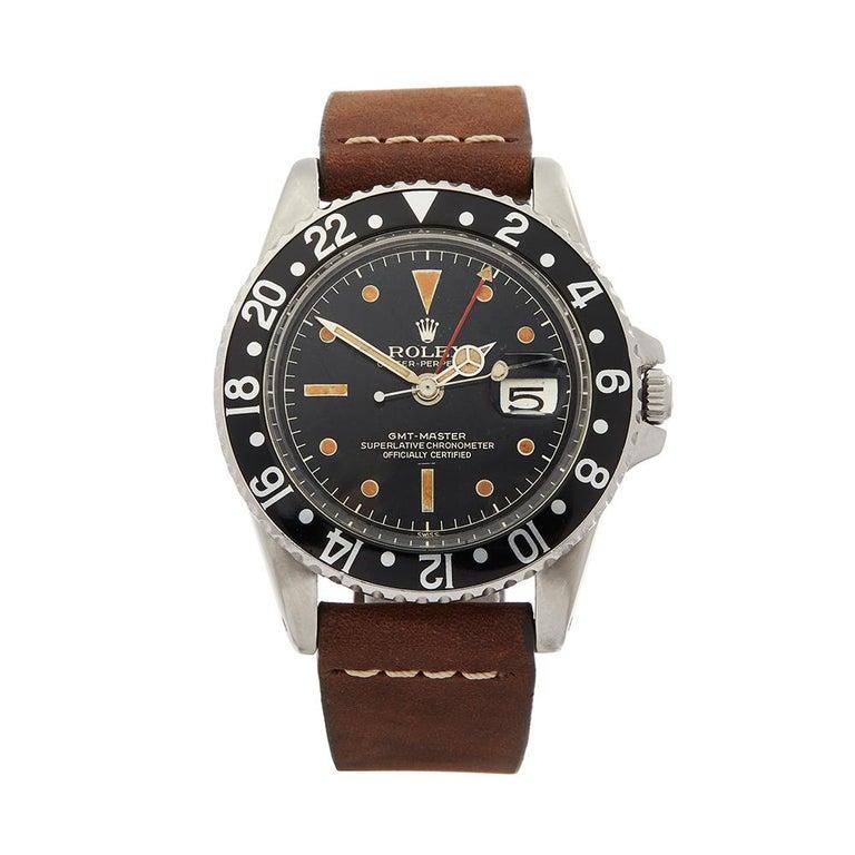 1963 Rolex GMT-Master Gilt Gloss Underline Dial Stainless Steel 1675 Wristwatch For Sale