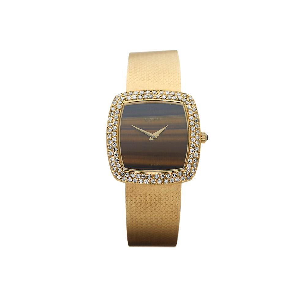 1980's Delaneau Vintage Tiger-eye Yellow Gold Wristwatch
