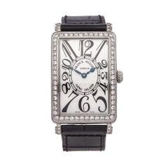 2000's Franck Muller Long Island Diamond Stainless Steel 952.QZ.D.1R Wristwatch