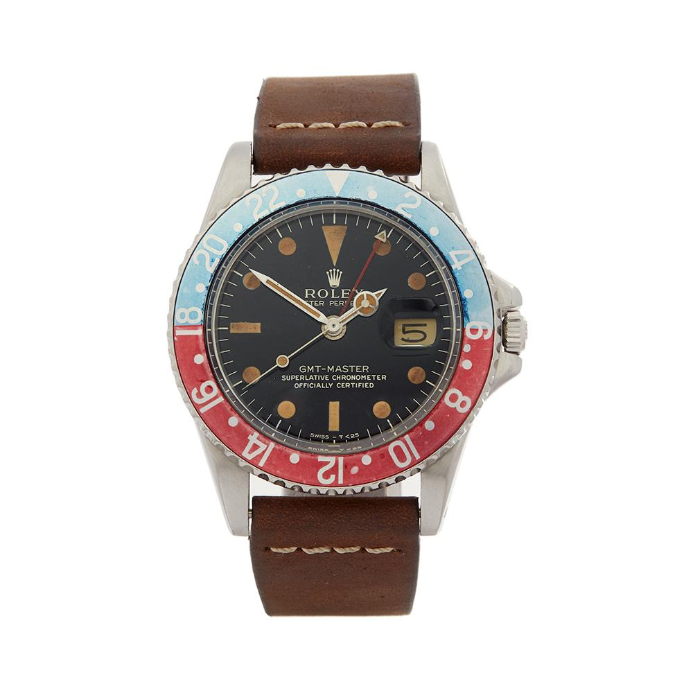 1965 Rolex GMT-Master Pepsi Gilt Dial Stainless Steel 1675 Wristwatch
