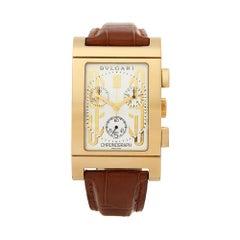 2010's Bulgari Rettangolo Chronograph Yellow Gold RTC 49G Wristwatch