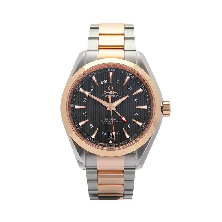 2017 Omega Seamaster AquaTerra 150m GMT Steel & Rose Gold Wristwatch For Sale