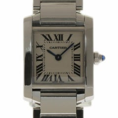 Cartier Tank Francaise Small Stainless Steel White W51008Q3 2 Year Warranty #573
