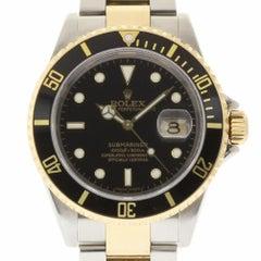 Rolex Submariner 16613 Steel Gold Black No Holes 2007 2 Year Warranty #1374