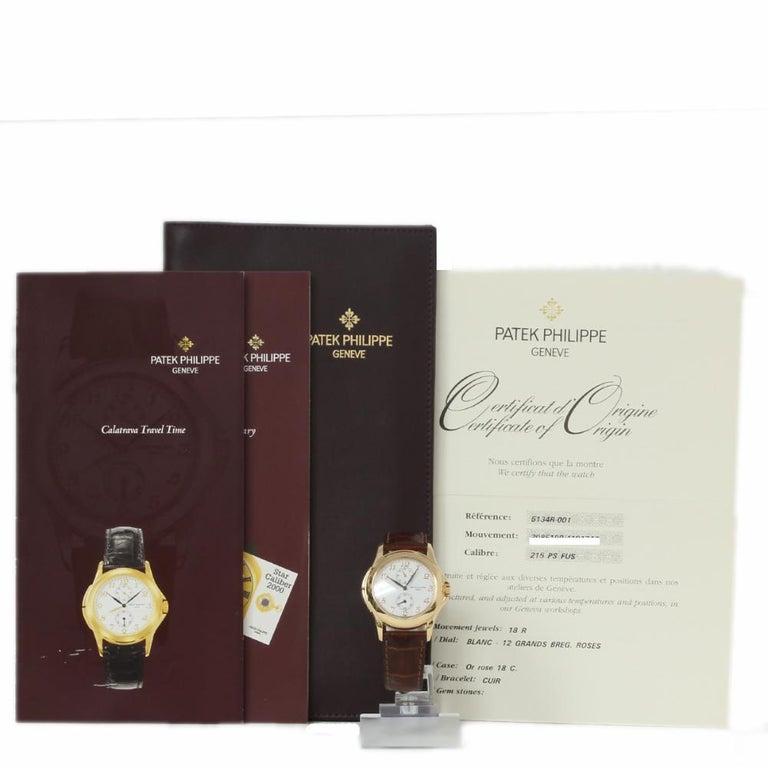 Men's Patek Philippe Calatrava Travel Time 5134R Rose Gold Paper/2 Year Warranty For Sale