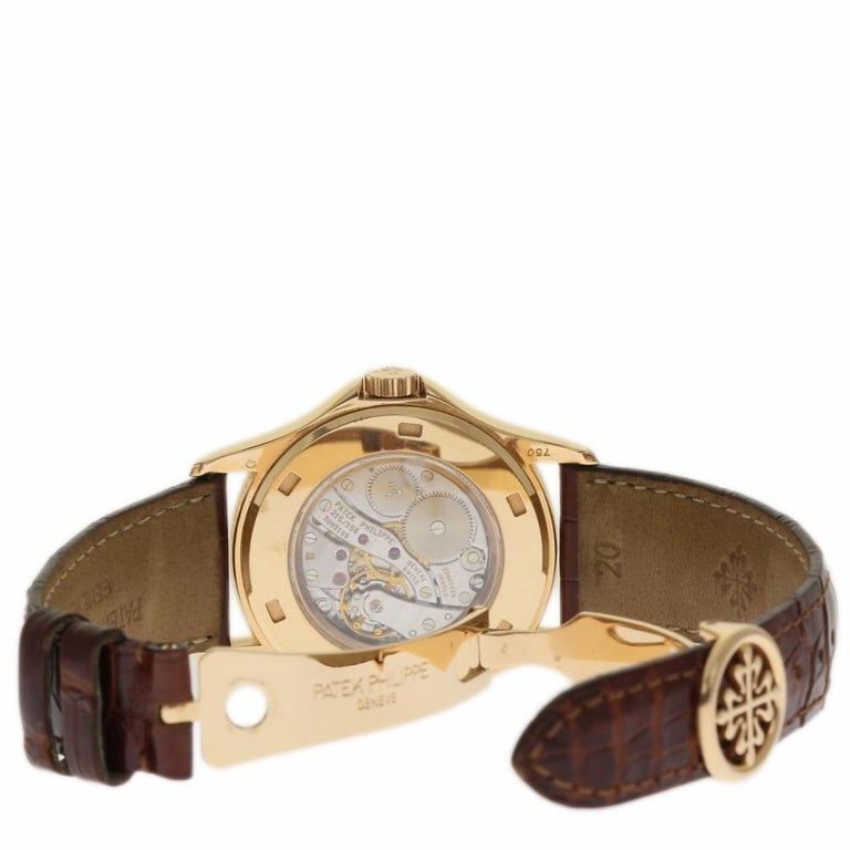 Contemporary Patek Philippe Calatrava Travel Time 5134R Rose Gold Paper/2 Year Warranty For Sale