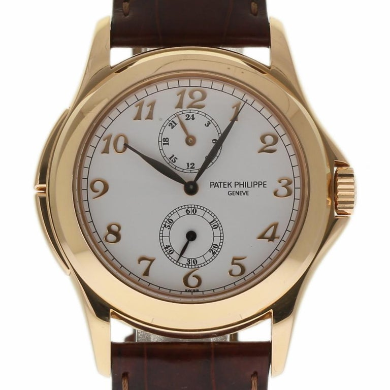 Patek Philippe Calatrava Travel Time 5134R Rose Gold Paper/2 Year Warranty In New Condition For Sale In Miami, FL