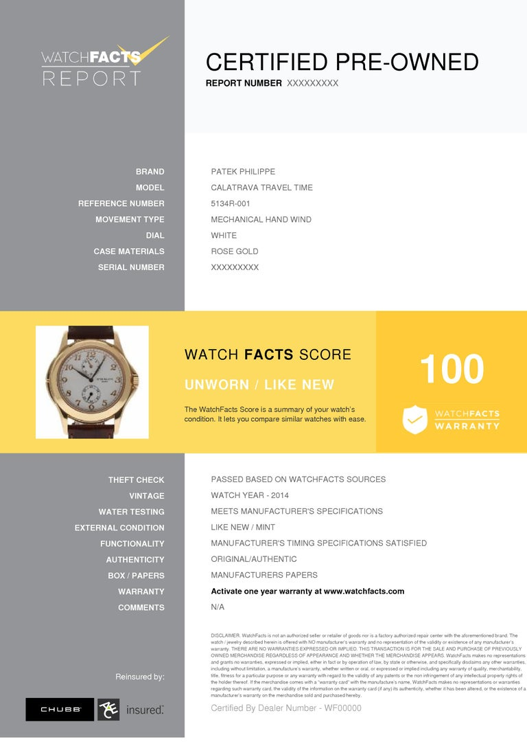Patek Philippe Calatrava Travel Time 5134R Rose Gold Paper/2 Year Warranty For Sale 1