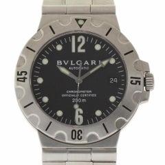 Bvlgari Diagono Scuba SD38S Steel Black Automatic Box/Paper/Warranty #276