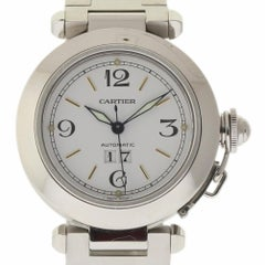 Cartier Pasha 2475 Stainless Steel White Stick Automatic 2 Year Warranty #370