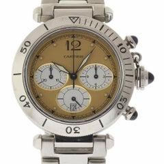 Cartier Pasha Chronograph W31004H3 Quartz Stainless Steel 2 Year Warranty #351