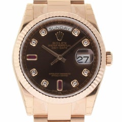 Rolex New Day-Date 118205 Gold Chocolate Diamond Box/Paper/Warranty #RL291