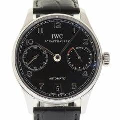 IWC New IW500109 Portuguese Automatic Black Leather Box/Paper/Warranty #IW2