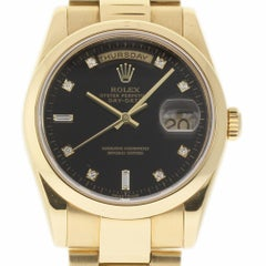 Rolex Day-Date 118208 18 Karat Yellow Gold Black Diamond 2001 2 Year Warranty