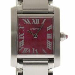 Cartier Tank Francaise Limited Edition W51030Q3 Steel Raspberry Warranty #I1753