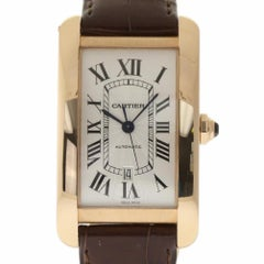 Cartier New Tank Americaine W2609856 Pink Gold Leather Box/Papers/Warranty #CA54
