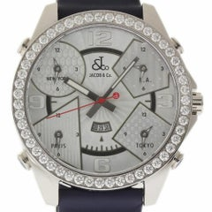 Jacob & Co. JC-3 5 Time Zone Diamond Stainless Steel 2 Year Warranty #1781