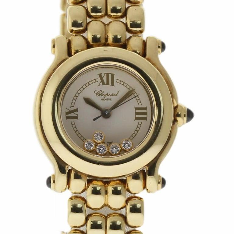 6d4498ff77bec Chopard Happy Sport 5 Floating Diamond 27/6150 Yellow Gold 2 Year Warranty  #536