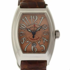 Franck Muller Conquistador 8005LSC Steel Salmon Brown Leather 2 Year Warranty