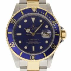 Rolex Submariner 16613 Blue Dial Steel Yellow Gold 2005 2 Year Warranty #105-3