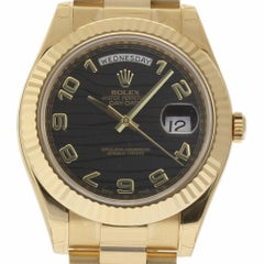 Rolex New Day-Date II 218238 President Gold Black Wave Box/Paper/Warranty #RL133