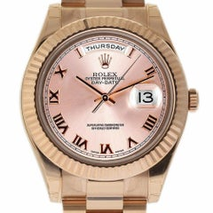 Rolex New Day-Date II 218235 Rose Gold Champagne Roman Box/Paper/Warranty #RL131