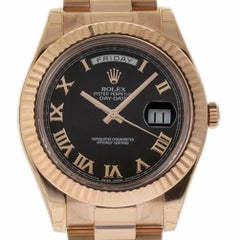 Rolex New Day-Date II 218235 President Rose Gold Black Box/Paper/Warranty #RL128
