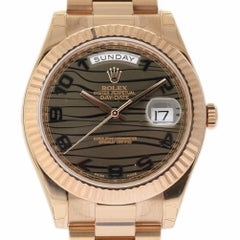 Rolex New Day-Date II 218235 Rose Gold Chocolate Wave Box/Paper/Warranty #RL329