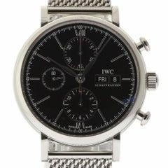 IWC New IW391010 Portofino Chronograph Black Steel Box/Paper/Warranty #IW12