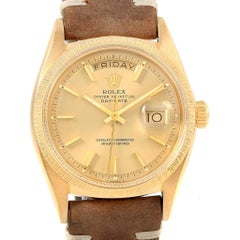 Rolex President Day-Date 18 Karat Yellow Gold Brown Strap Men's Watch, 1807