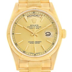 Rolex President Day-Date Yellow Gold Bark Mens Watch 18078 Box Papers